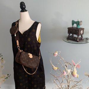 Polkadots black & yellow short sleeveless dress
